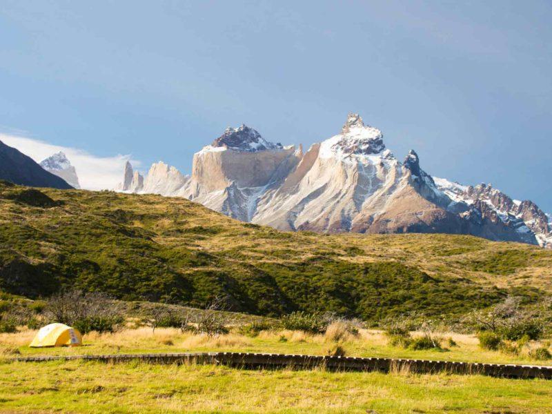 Los Cuernos behind Campamento Paine Grande in Torres del Paine National Park