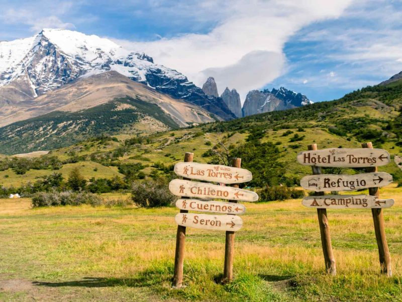 Signposts in Torres del Paine National Park, Patagonia