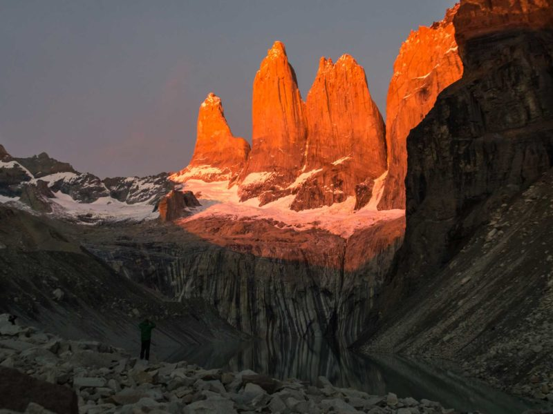 The torres of Torres del Paine National Park at dawn