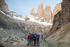 At the towers at the end of hiking the O Circuit in Torres del Paine National Park, Patagonia