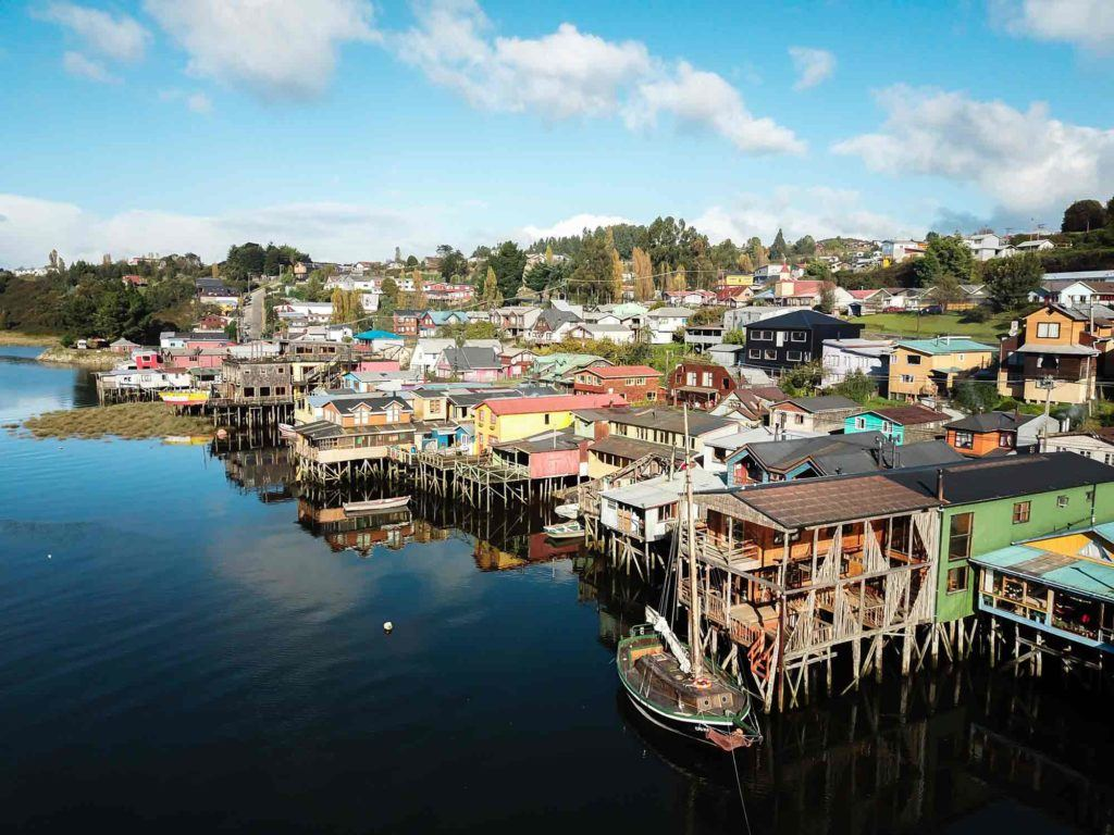 Palafitos in Castro, Chiloe in Chile