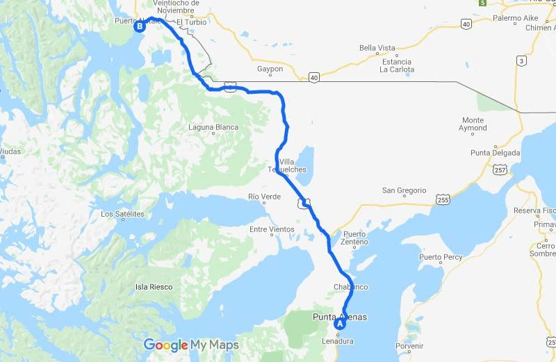 Map of the route driving through Southern Chilean Patagonia