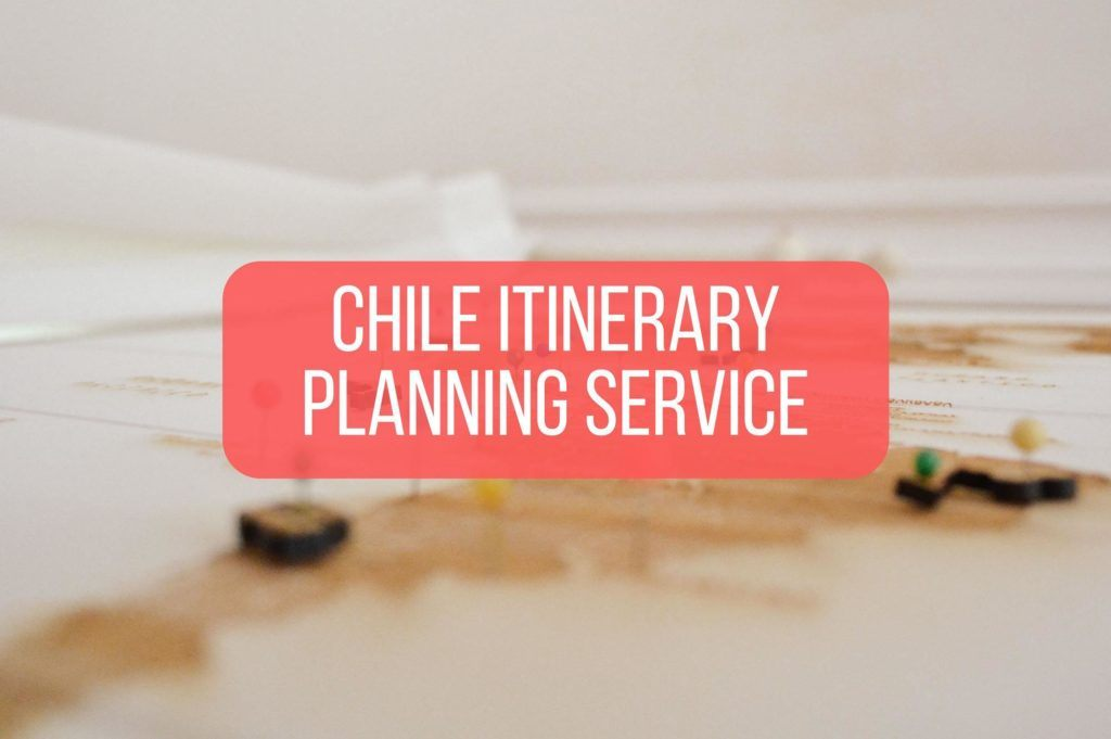 Map of South America with overlaid text saying chile itinerary travel planning service