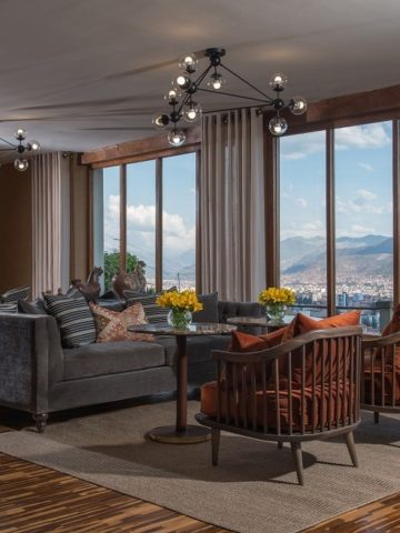 The sitting room in Palacio Manco Capac in Cusco, a magnificent boutique hotel with outstanding views of the city