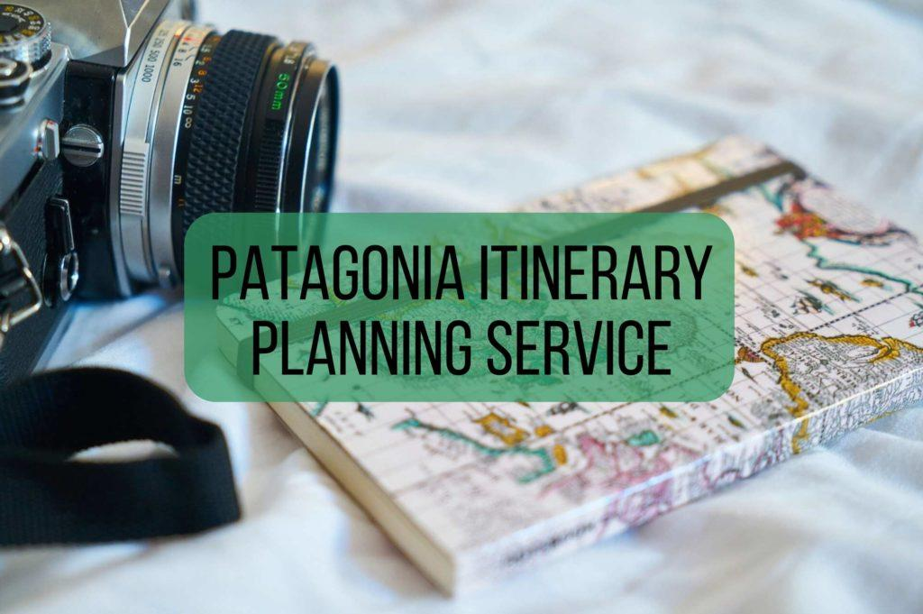 Camera and map notebook with overlaid text saying Patagonia itinerary planning service