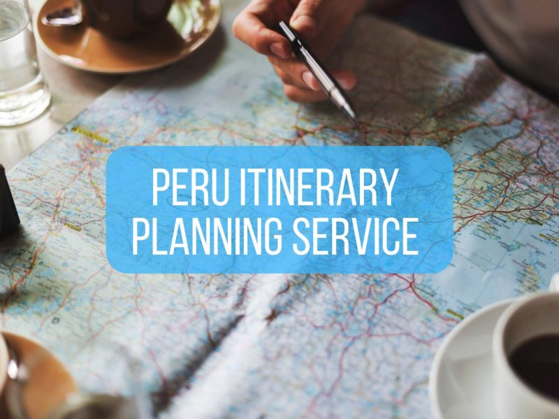 Map and coffee cups with overlaid text saying Peru itinerary planning service
