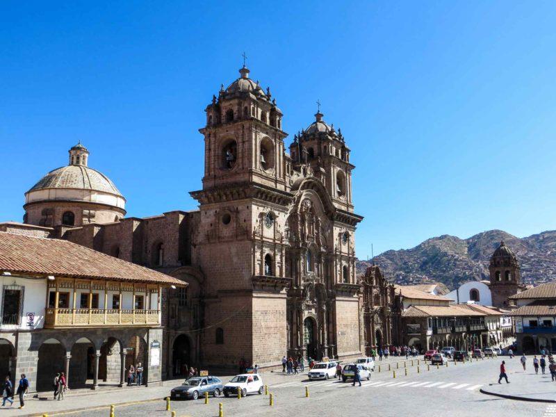 The Plaza de Armas and the Iglesia De La Compañia De Jesús in Cusco, Peru