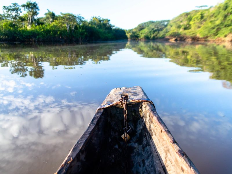 Overlooking a lake from the front of a dugout canoe in Guyana.
