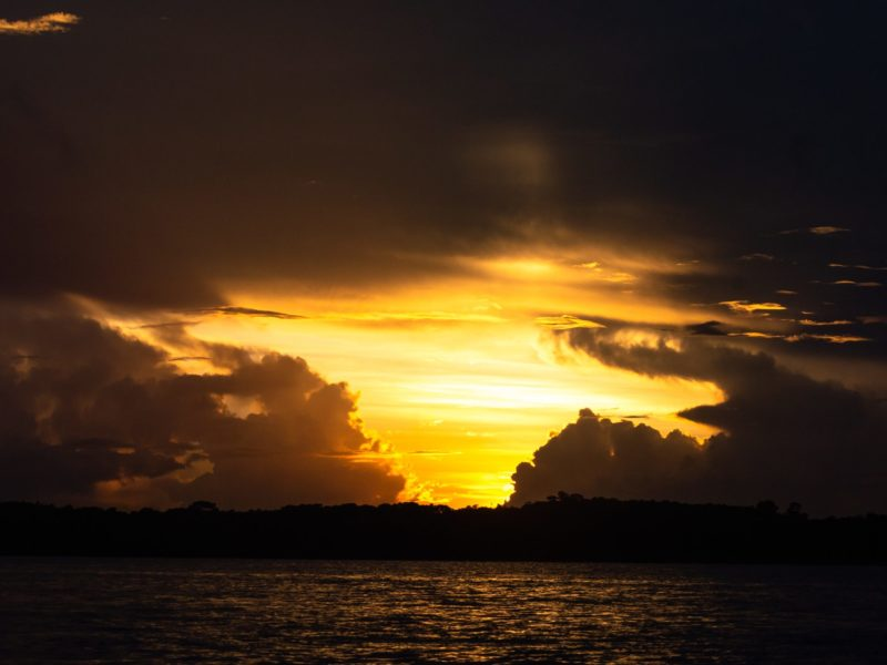 Sunset over the Essequibo River in Guyana.