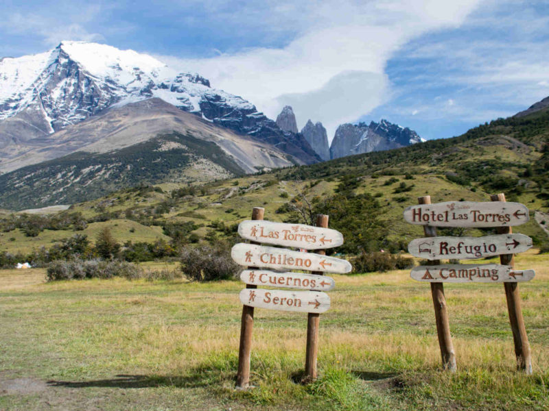 Handmade signs direct you to Torres del Paine Day Hikes all over the park