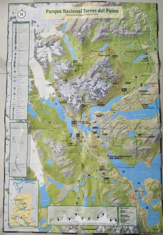 The hiking trail map for Torres del Paine National Park in Patagonia