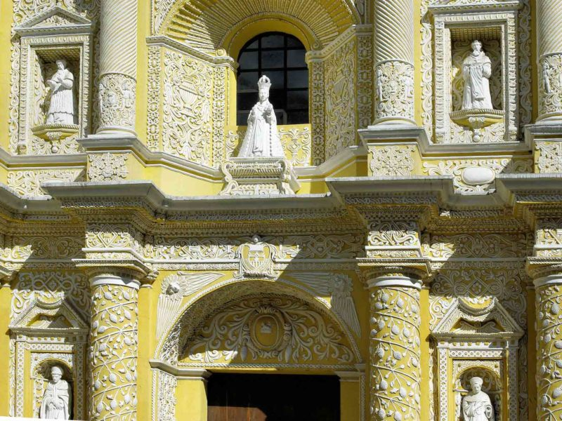 The delicate facade of the Iglesia de la Merced in Antigua Guatemala, a must-see place on a Guatemala itinerary