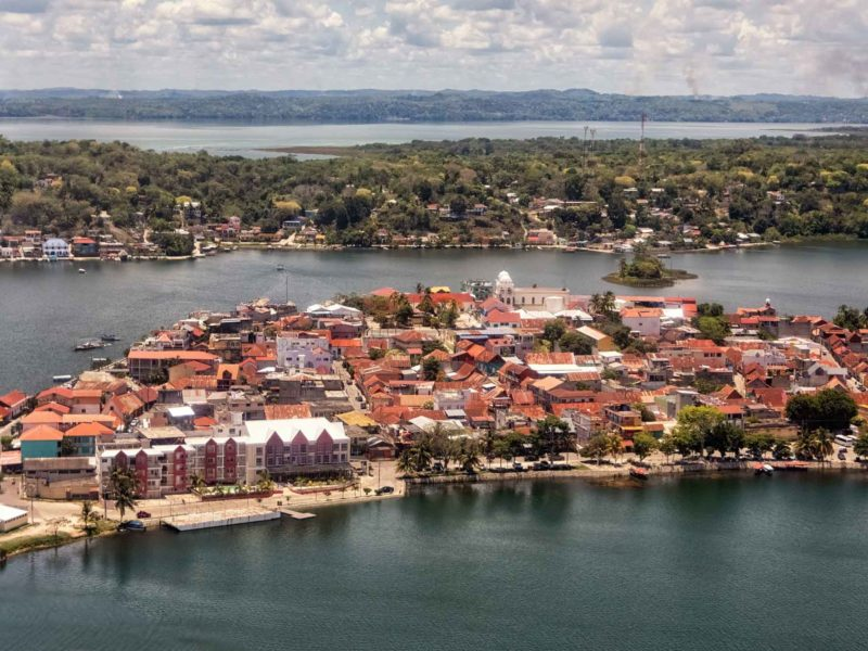An aerial shot of the island of Flores in the Peten department of Guatemala