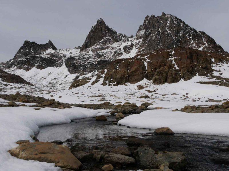 Mountains along the Dientes de Navarino hiking trail in Isla Navarino, Chilean Patagonia