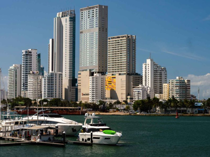 Yaches and skyscrapers in Bocagrande, Cartagena in Colombia