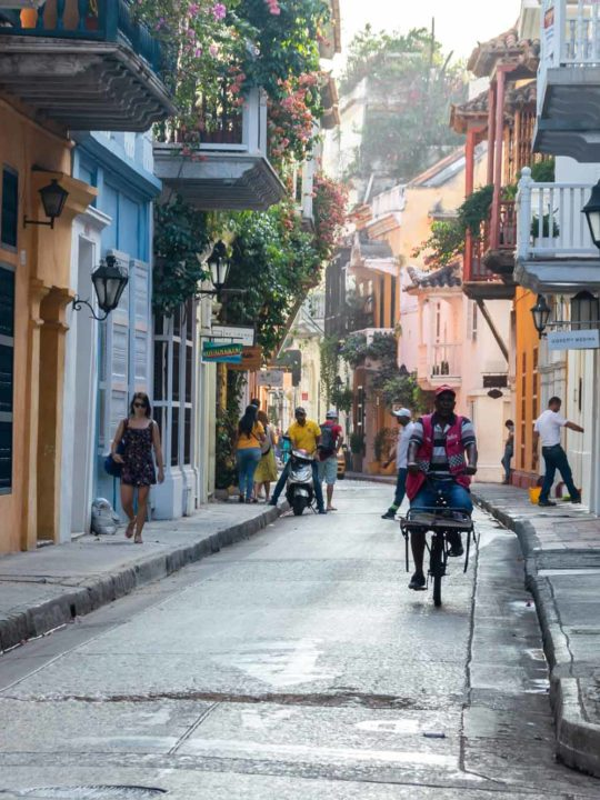 A quiet street in Cartagena, Colombia