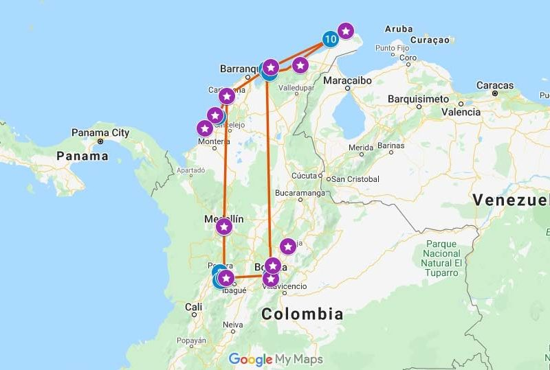 Map with a one-month Colombia travel itinerary plotted
