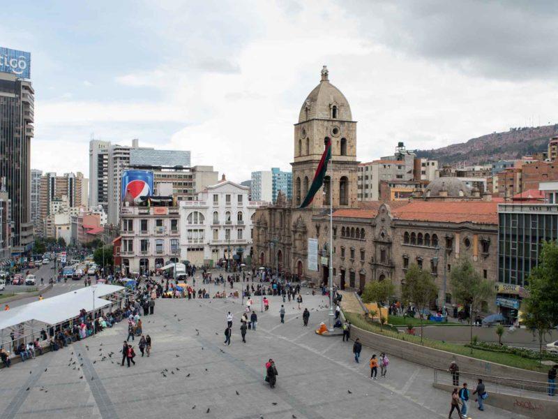 Plaza Mayor de San Francisco with the church behind