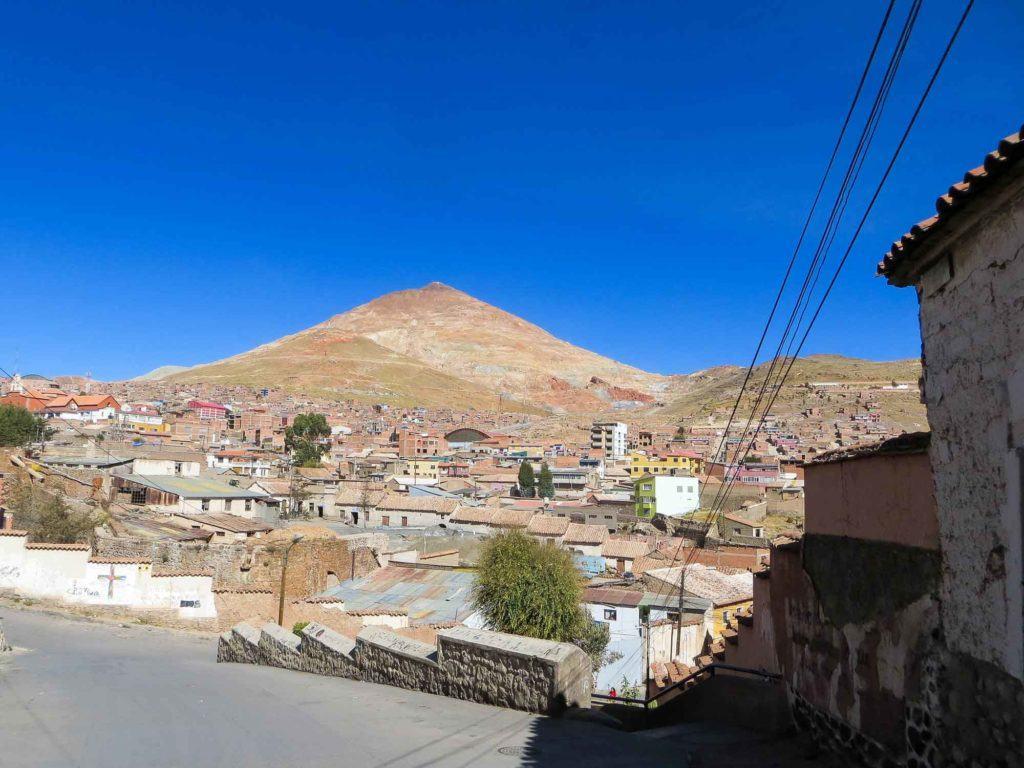 Cerro Rico, the silver mine in Potosi, Boliviam rises above the town