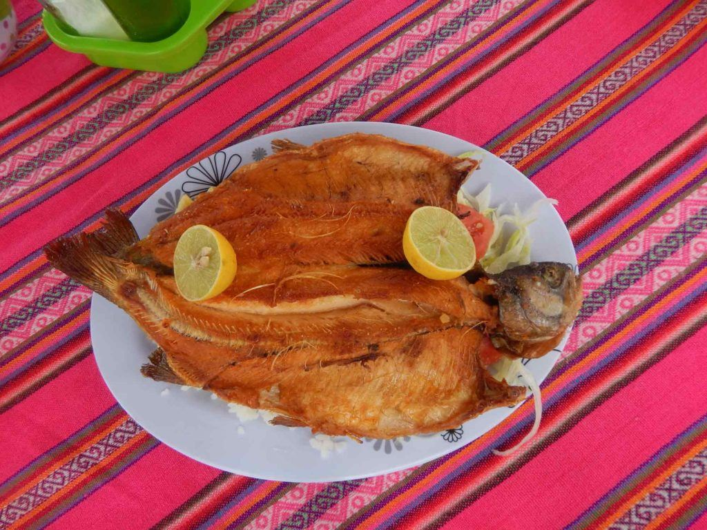 Fried trout on a plate with a colourful Andean tablecloth beneath